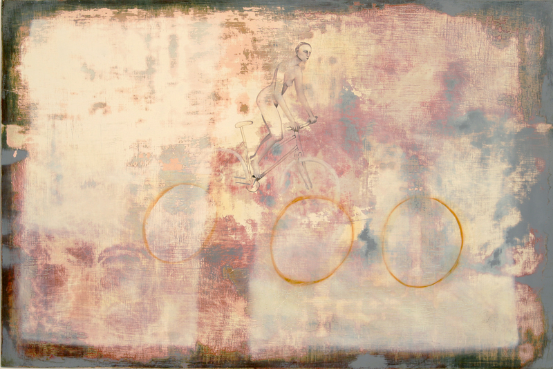 Cyclist, oil on panel, 24 x 36 inches, 2005