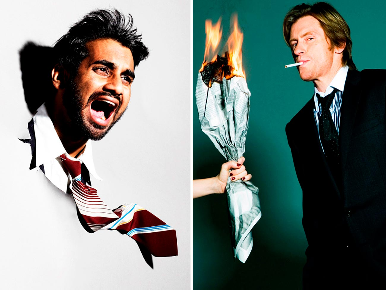 left : Aziz Ansari for Dazed and Confused right : Denis Leary for Interview