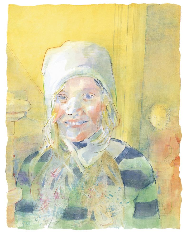 """""""Girl in White Hat"""" (14.5"""" x 11"""")"""