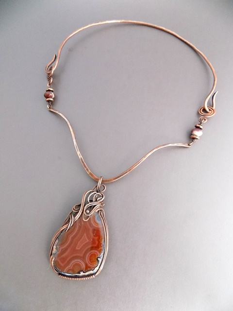 agate geode slice with copper collar necklace.jpg