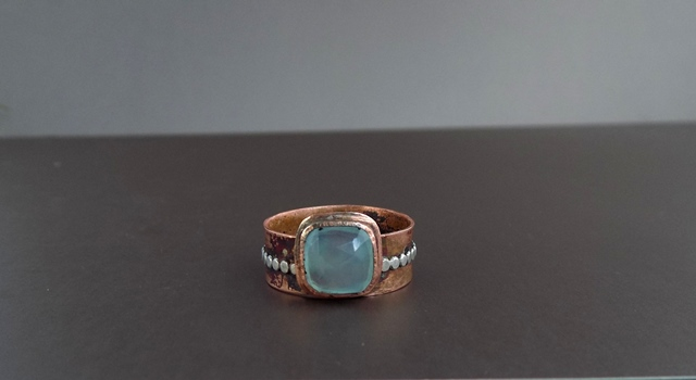 blue chalcedony copper and silver ring.jpg