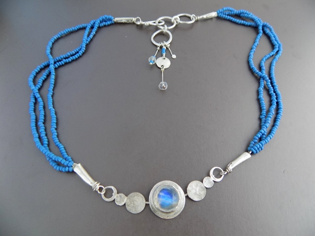 moonstone and blue seed bead multi strand necklace.jpg