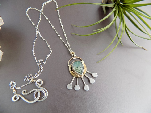 opal sunburst mixed metal pendant necklace silver and gold.jpg