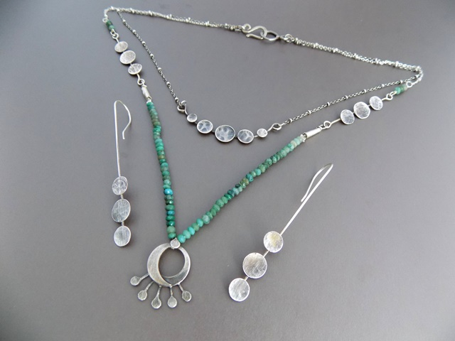 silver eclipse necklace with chrysocolla and matching silver full moon earring.jpg