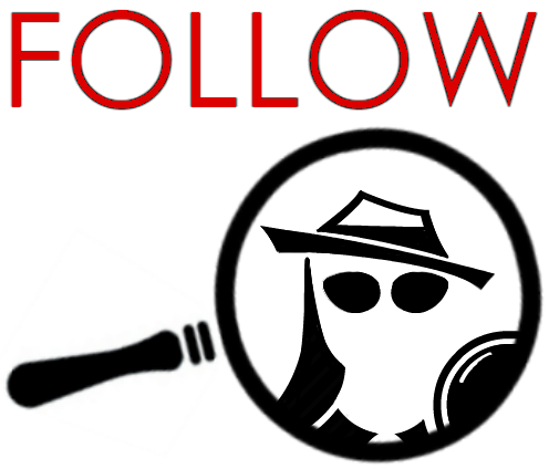 THE WORD FOLLOW above the college Spy LOgo seen through a magnifying glass.