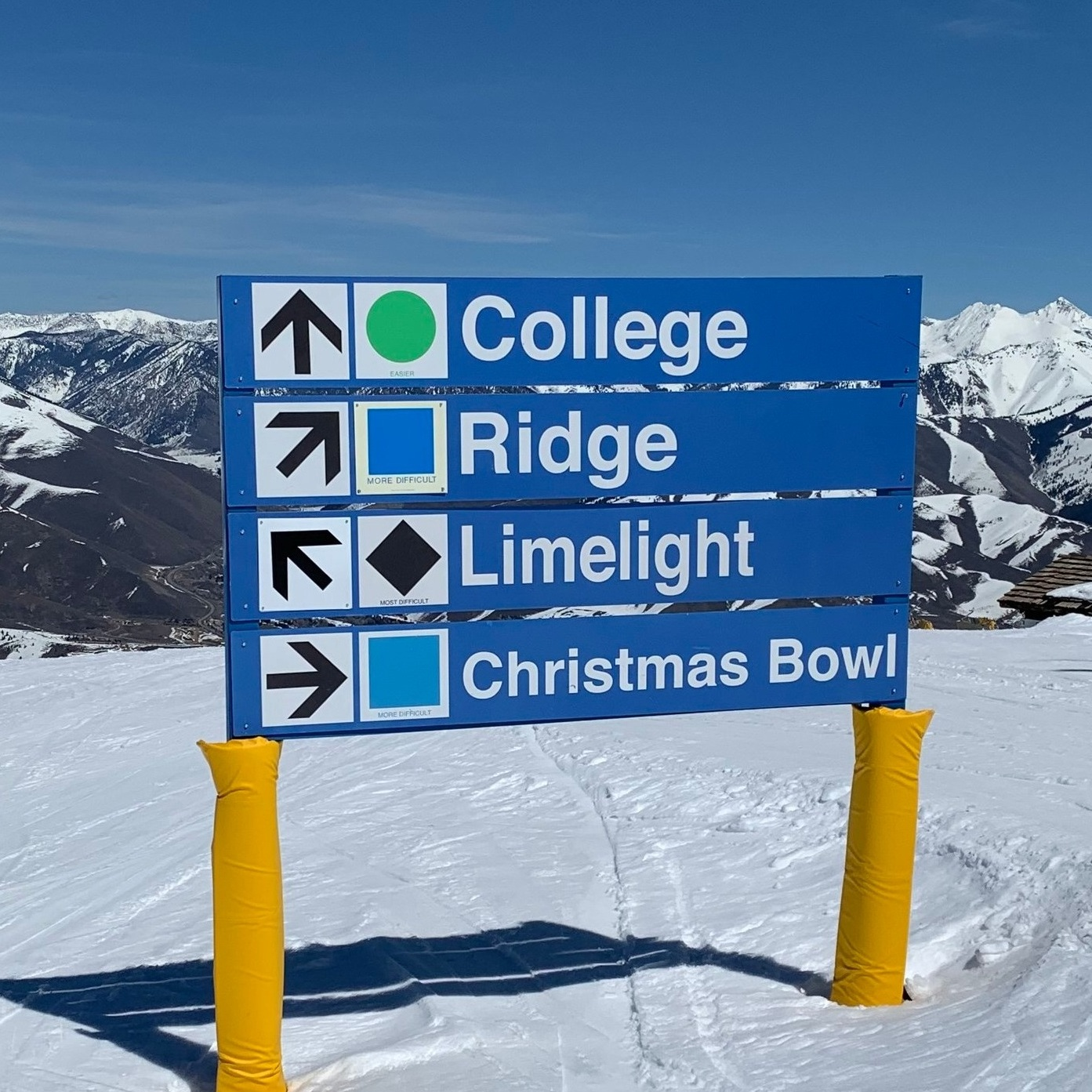 "Image of sign on ski slope with ski trail named ""College""."