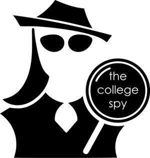 "The College Spy Logo: A black and white silhouette of a woman with a brimmed hat, sun glasses and a magnifying glass bearing the words ""The College Spy."""