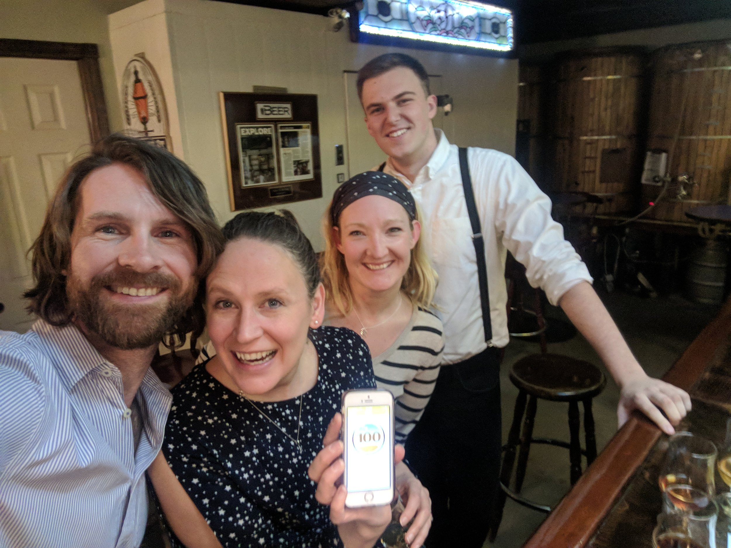 Celebrating 100 beer check-ins on Untappd
