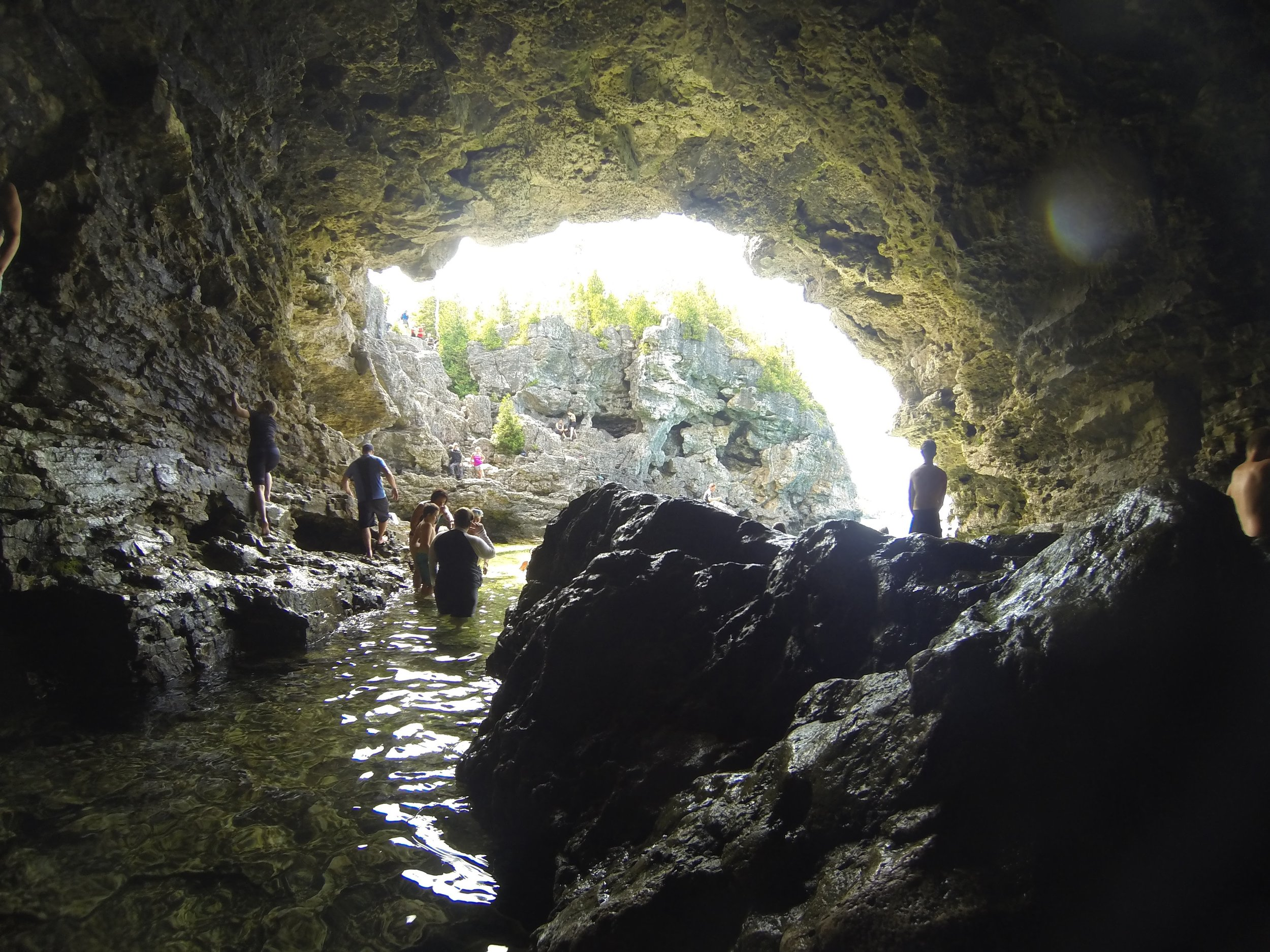 Inside the cave at the grotto