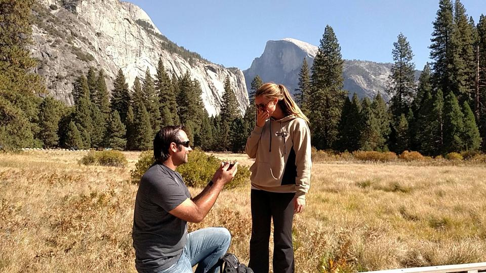 Murray proposing in Yosemite National Park
