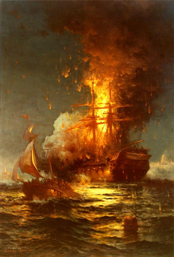 Burning of the Frigate Philadelphia by Edward Moran