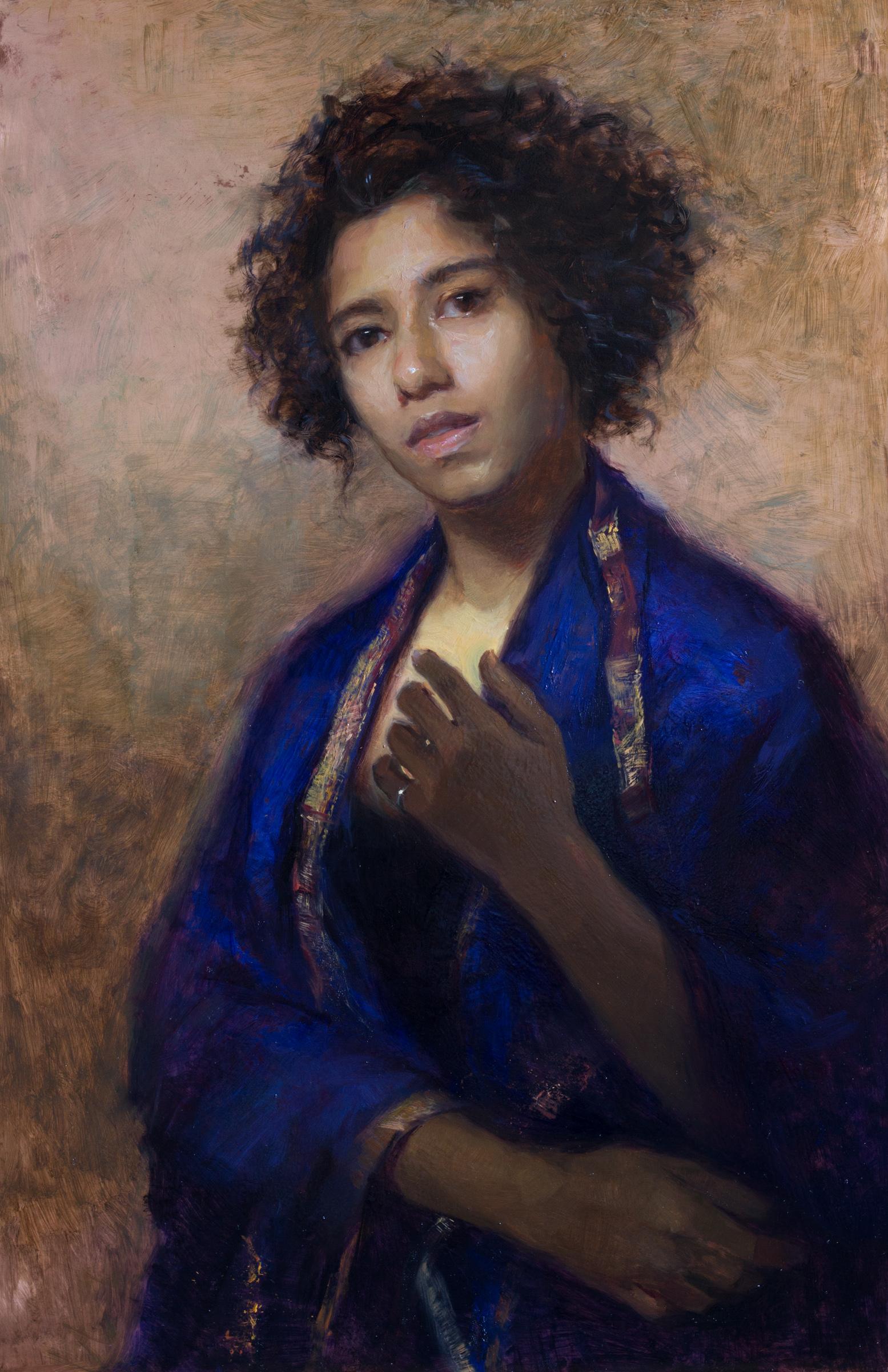'Self portrait on Copper' 110 cm x 60 cm Oil on copper