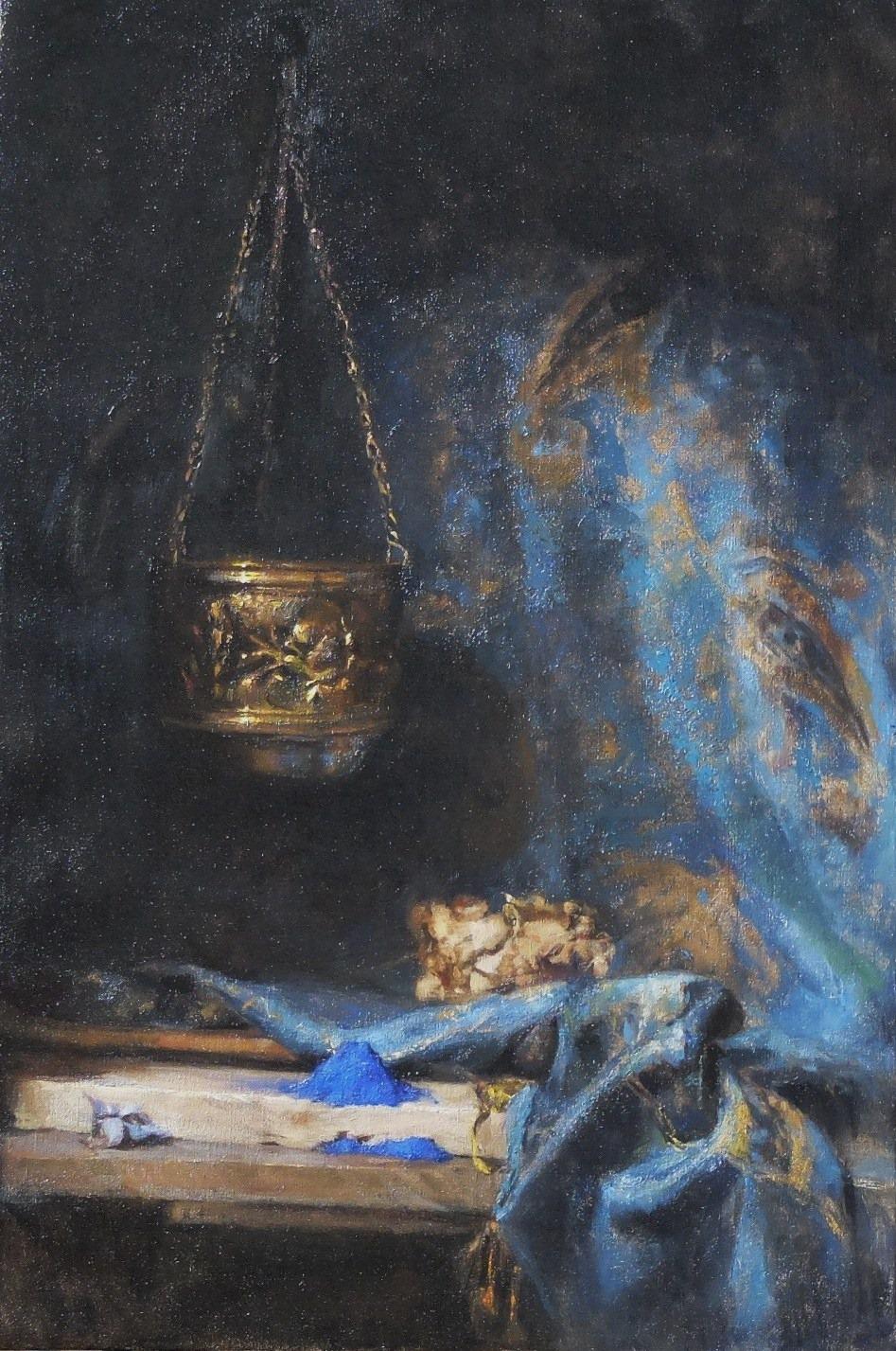 ' Symphony in Blue' 75 cm x 50 cm Oil on linen