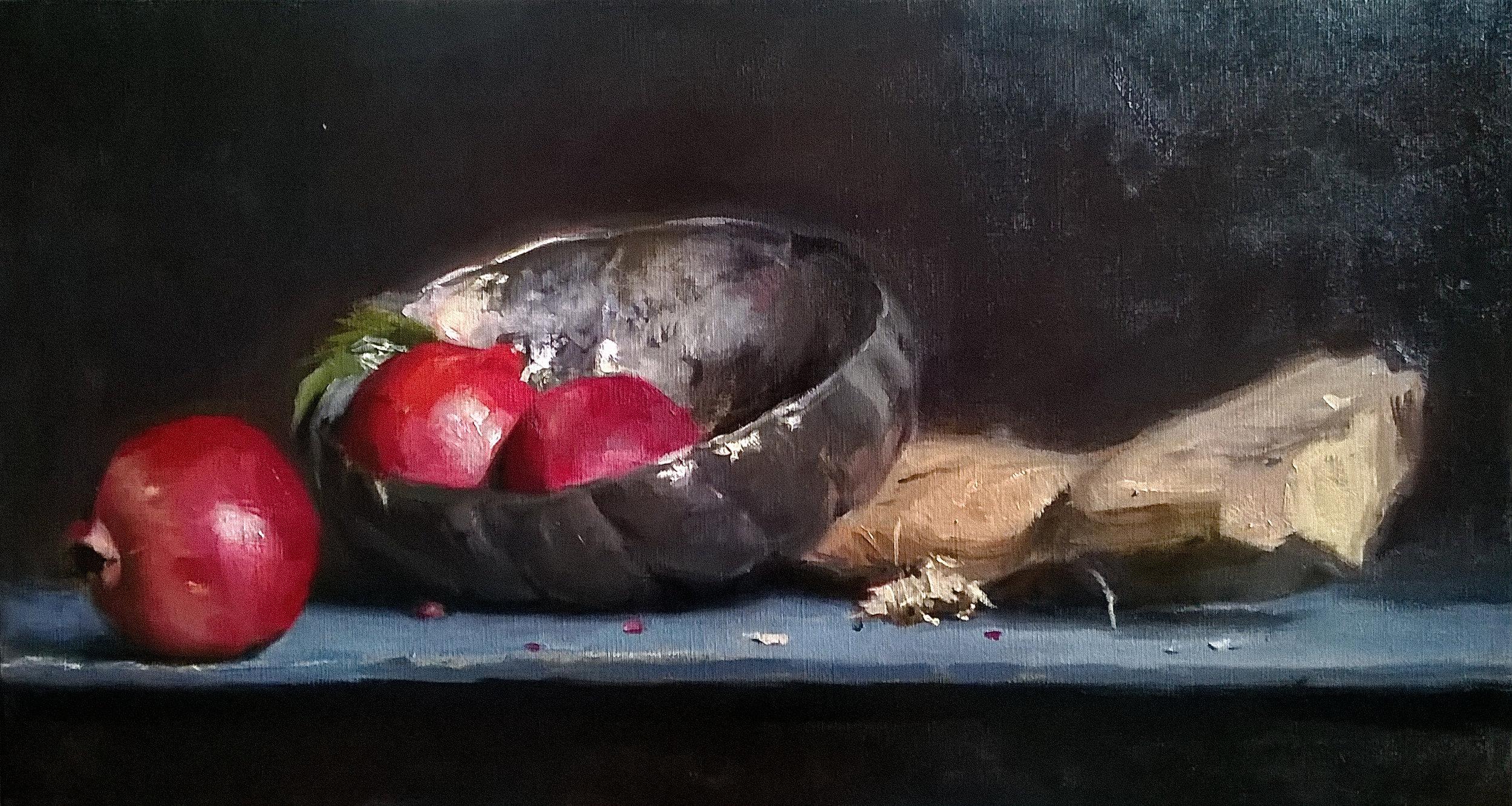 ' Still Life with Pomergranates' 35 cm x 65 cm Oil on linen
