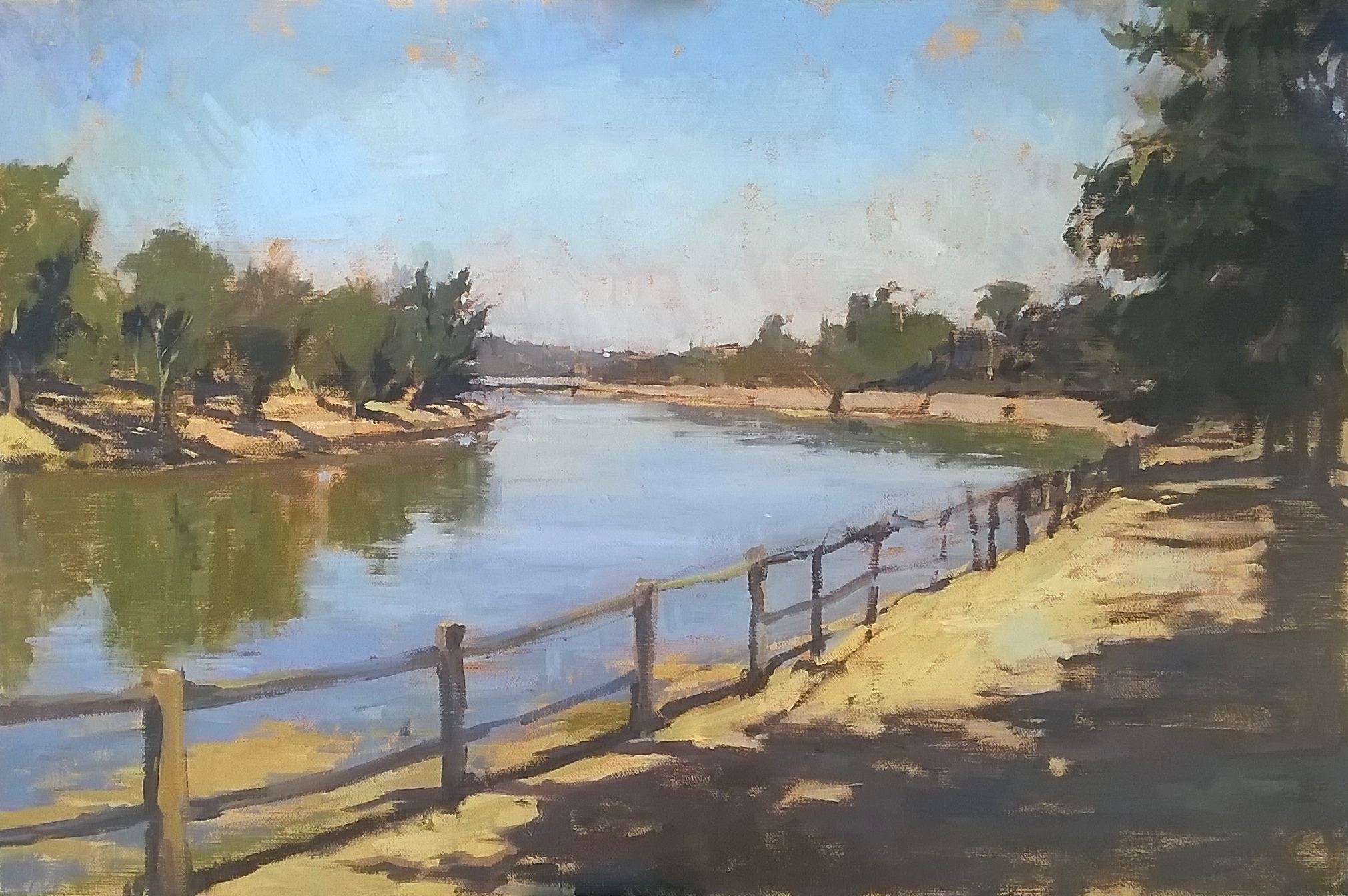 Along the Arno 40 cm x 60 cm Oil on Panel