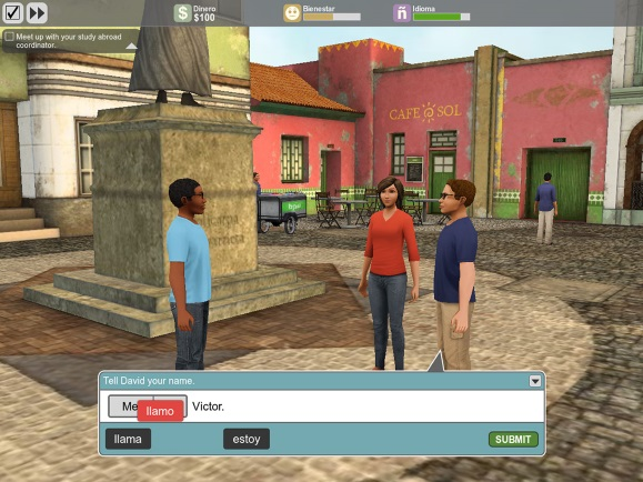 Immersive Language - Player builds language skills to complete missions and solve a mystery in a virtual Columbian city.