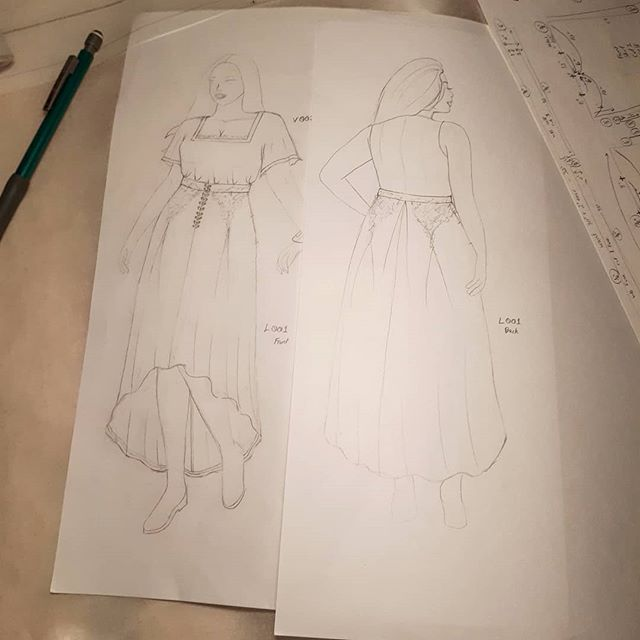 Sneak peek of the first 2 pieces in my upcoming fashion line. This line is aimed at LARPers and lovers of historical fashion. The pieces in this line will range from basic to elaborate to reflect a wide range of costume needs. This box pleated skirt will feature hidden deep pockets with optional lace applique. The front will rise higher than the back for style as well as ease of movement. Shirt will be flutter sleeve with underarm gussets and will also feature optional trim and/or lace.  Hopefully I can finish sewing the muslins tomorrow and have the completed samples by the end of next weekend 🤞🏻