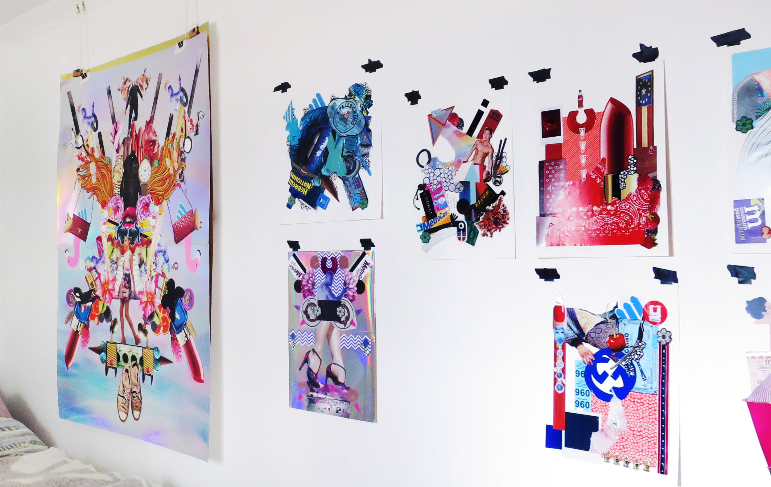 Completed works adorn the walls of Hinojosa's studio.