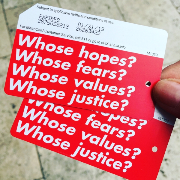 New MetroCards designed by Barbara Kruger (Photo by Jacque Donaldson)