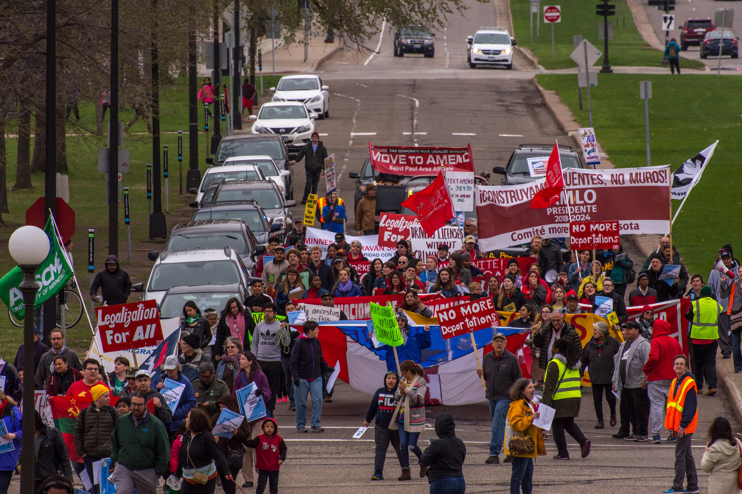 DYFIT was happy to support the May Day Labor and Immigrant's Rights March and continue our exploration of street embodiment for justice movements.  Photo by Steven Cohen.