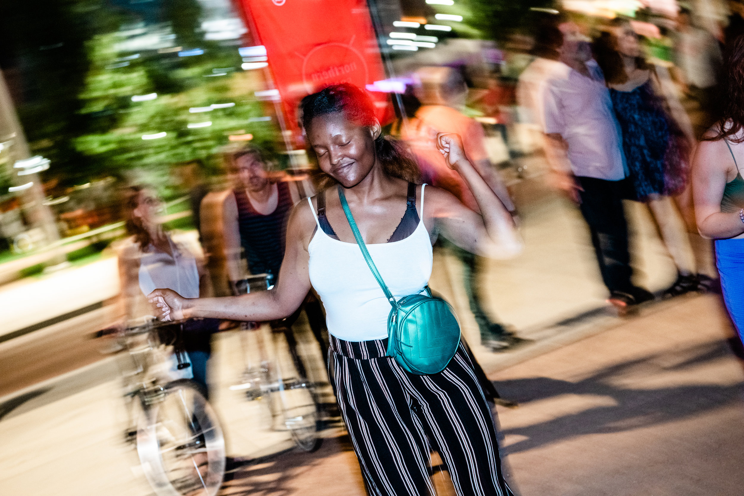 """""""The DYFIT installation and movement was so beautifully integrated into the Commons. I think it was perfect,"""" said Sarah Peters, Co-Director of the Northern Spark Festival.   Photo by Jayme Halbritter."""
