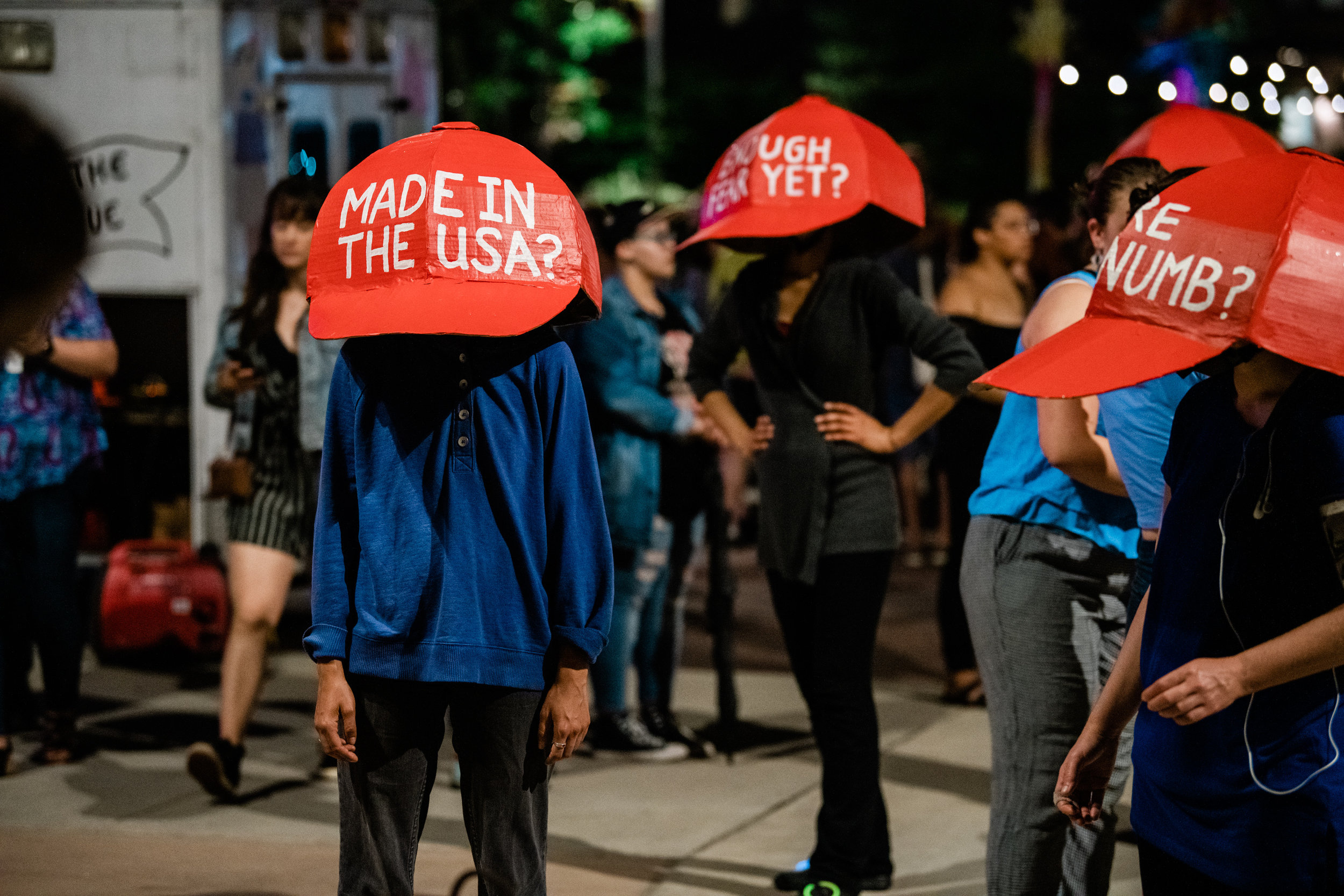 Our Northern Spark project,  What Will Do Dance For? (The Exuberant Activist Body) featured oversized MAGA-like hats designed by artist Masanari Kawahara.   Photo by Jayme Halbritter.
