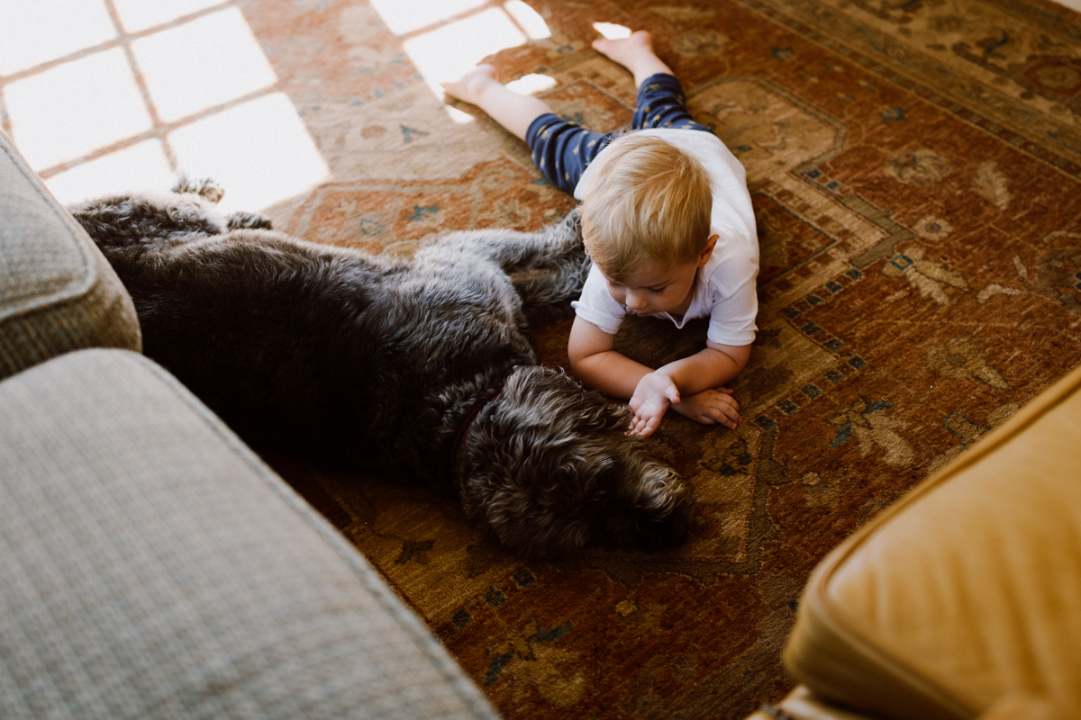 Adam & Betsy's little nephew and dog laying on a rug.