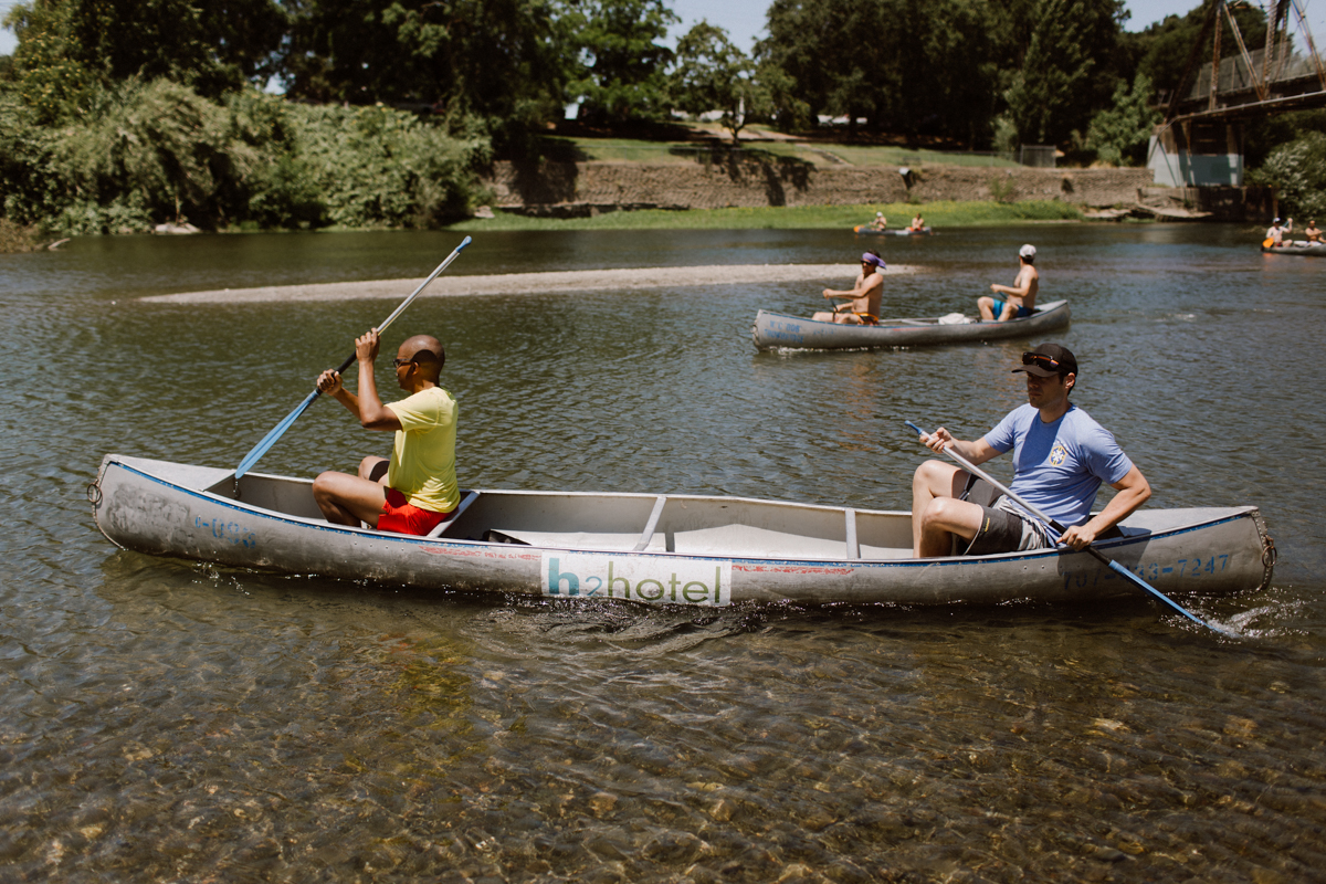Adam & his best friend canoeing the Russian River.