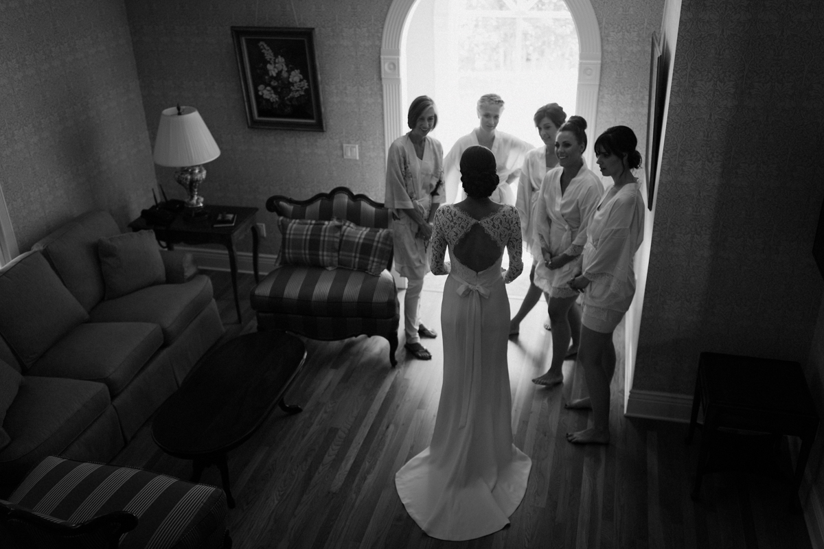 The back of Betsy's wedding dress.