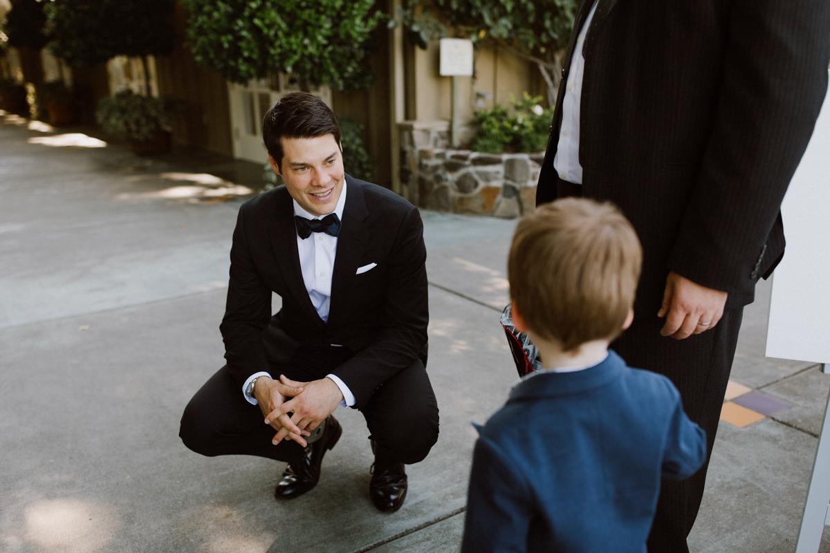 Adam greeting wedding guest at Trentadue Winery.