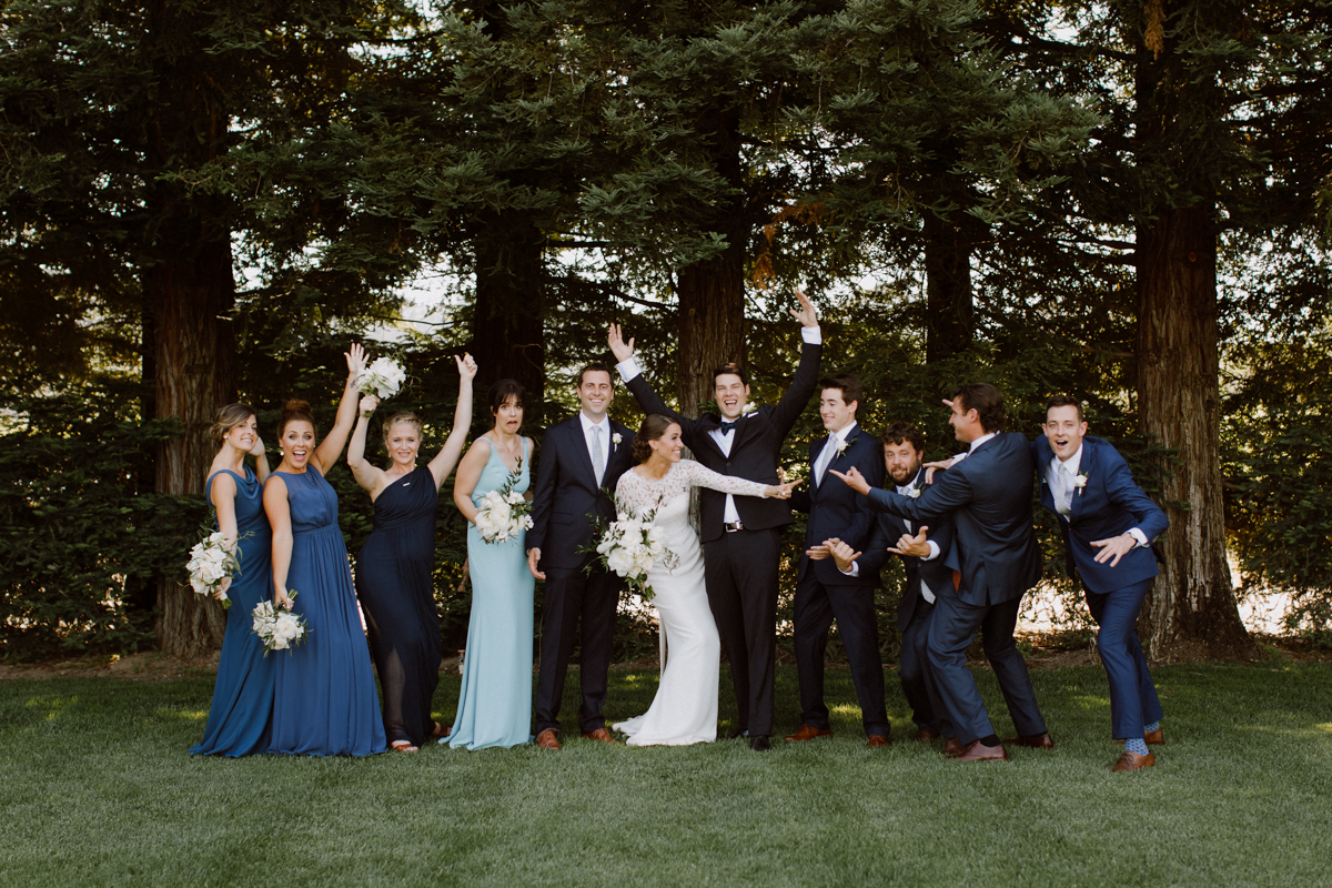 Adam & Betsy's bridal party group portraits.