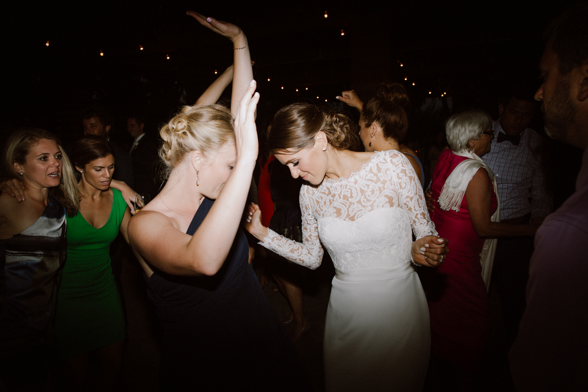 Betsy dancing with her bridesmaid.