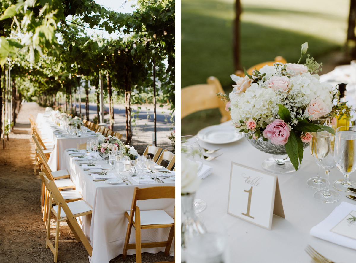 Wedding table settings and details