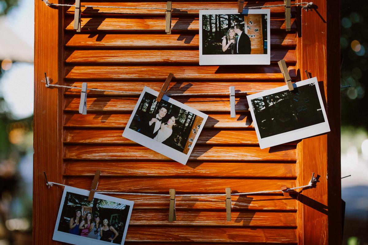 Polaroids of wedding bride and groom