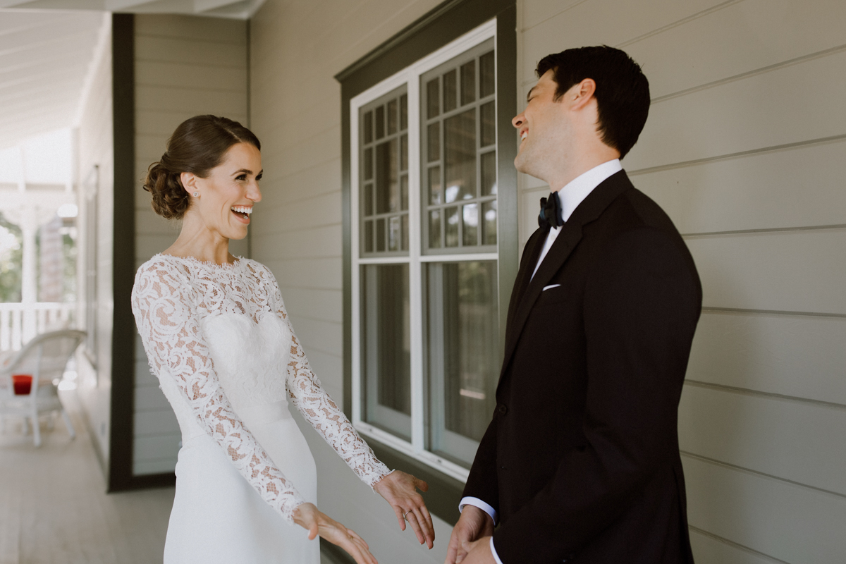 Adam sees Betsy in her wedding dress for the first time.