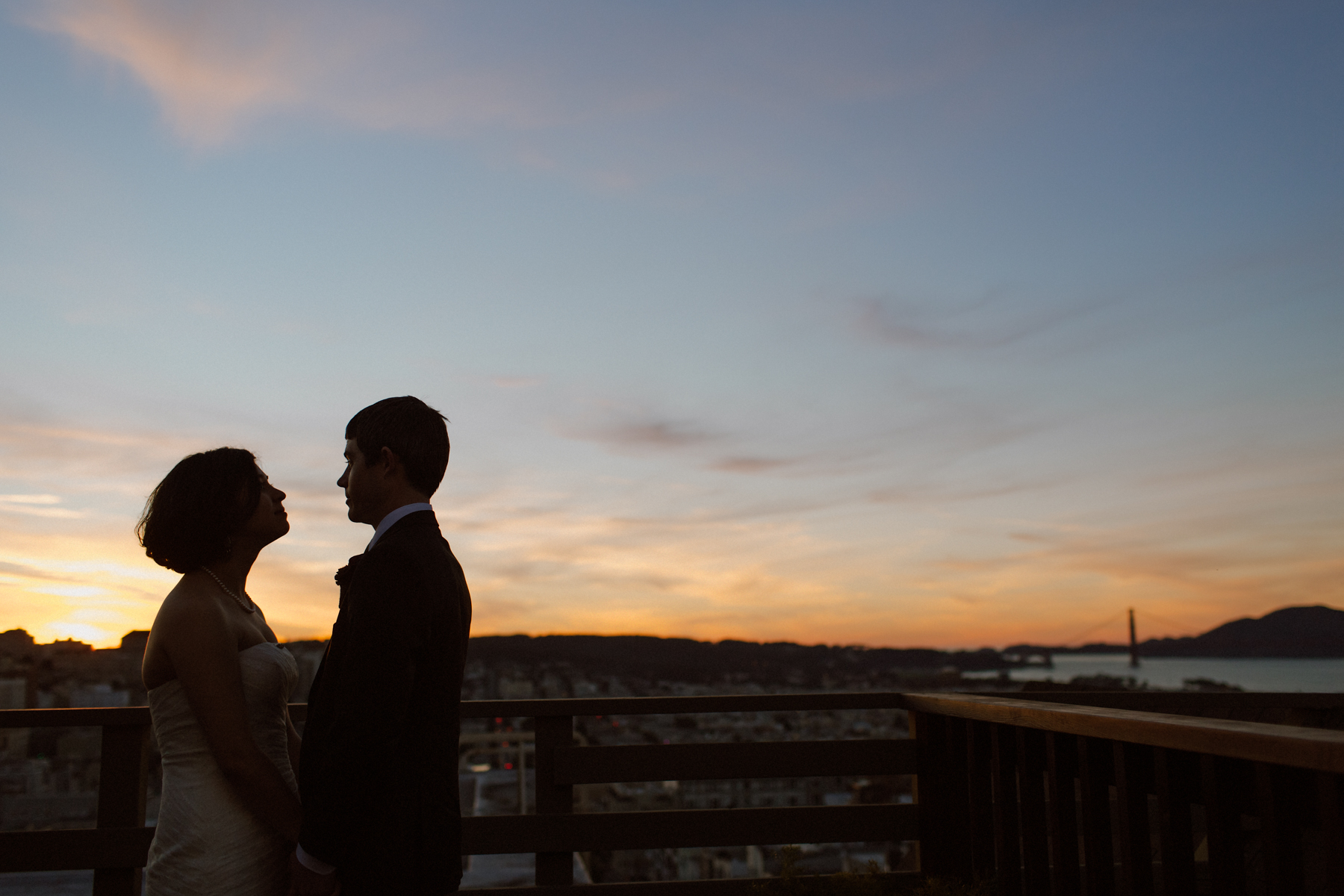 San Francisco rooftop wedding portraits.