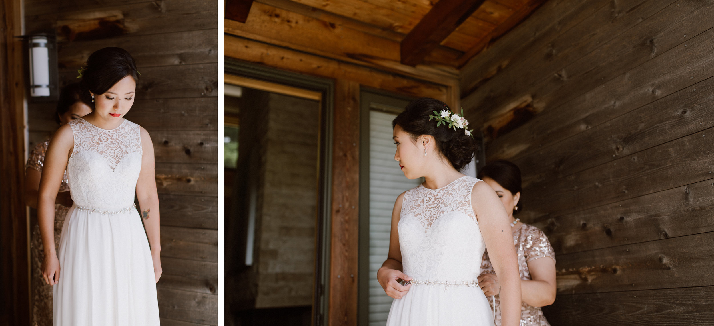 Bride & Groom getting ready at the Ventana Inn, Big Sur.