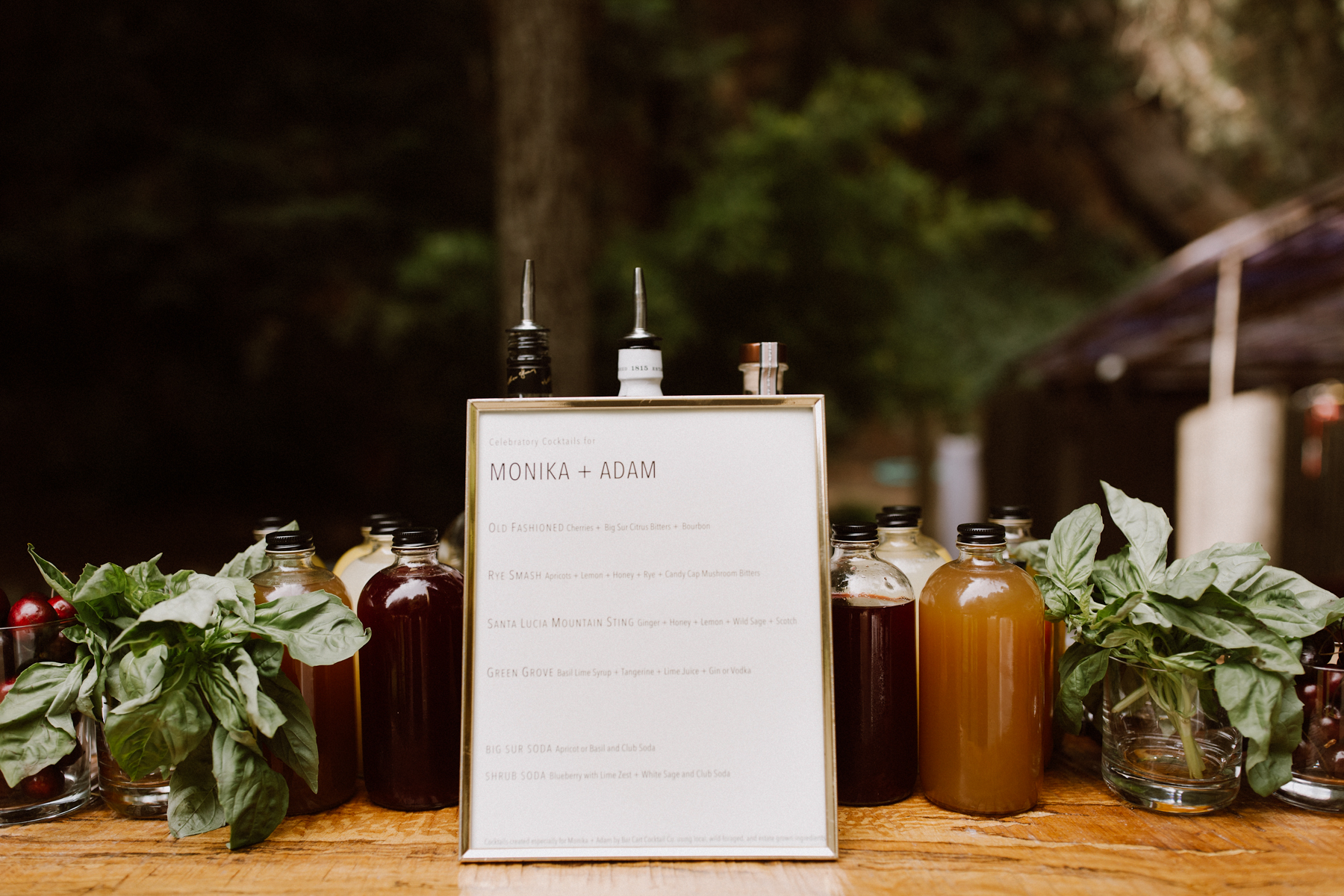Signature drink menu.