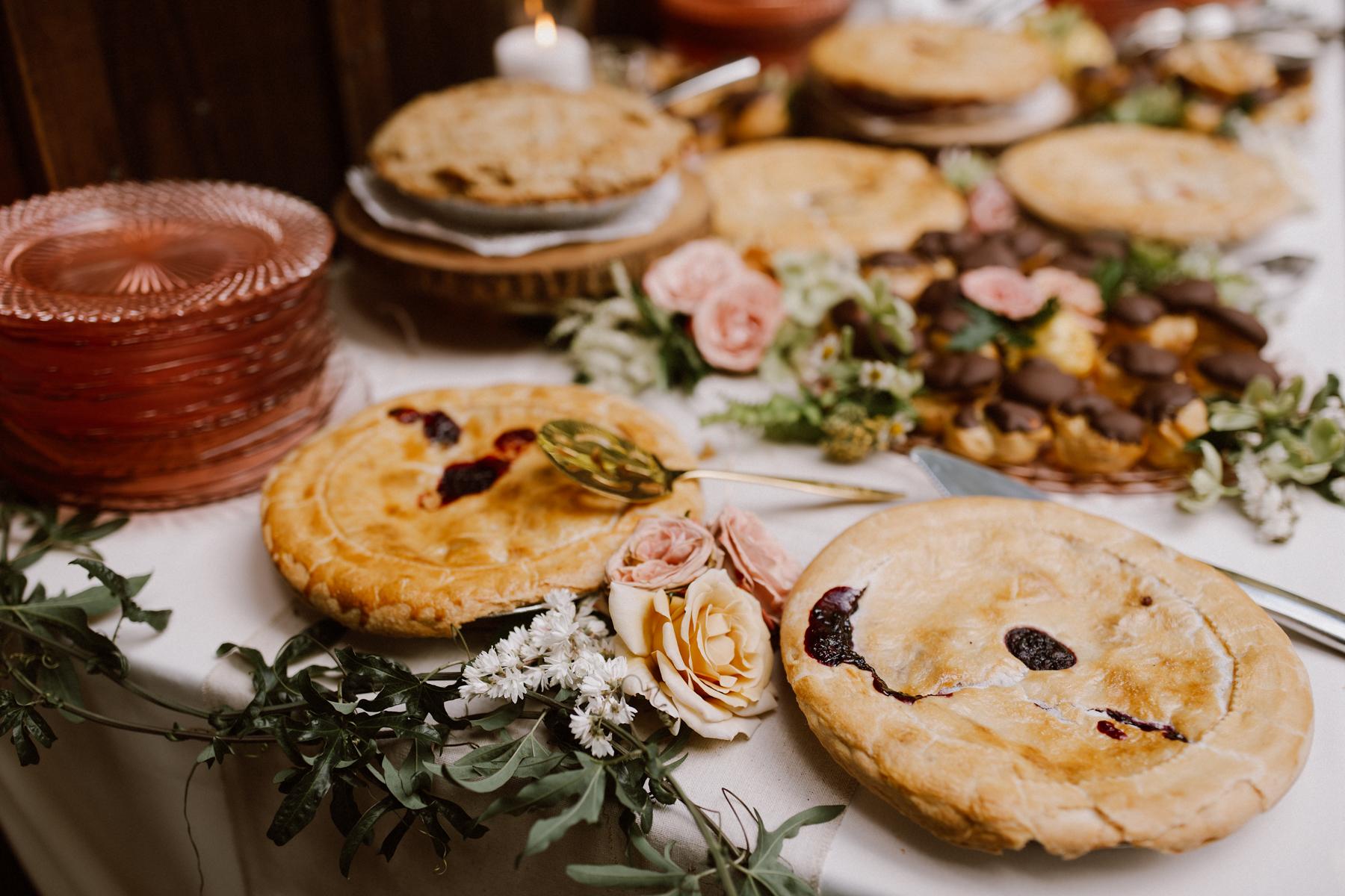 Handcrafted wedding pies.