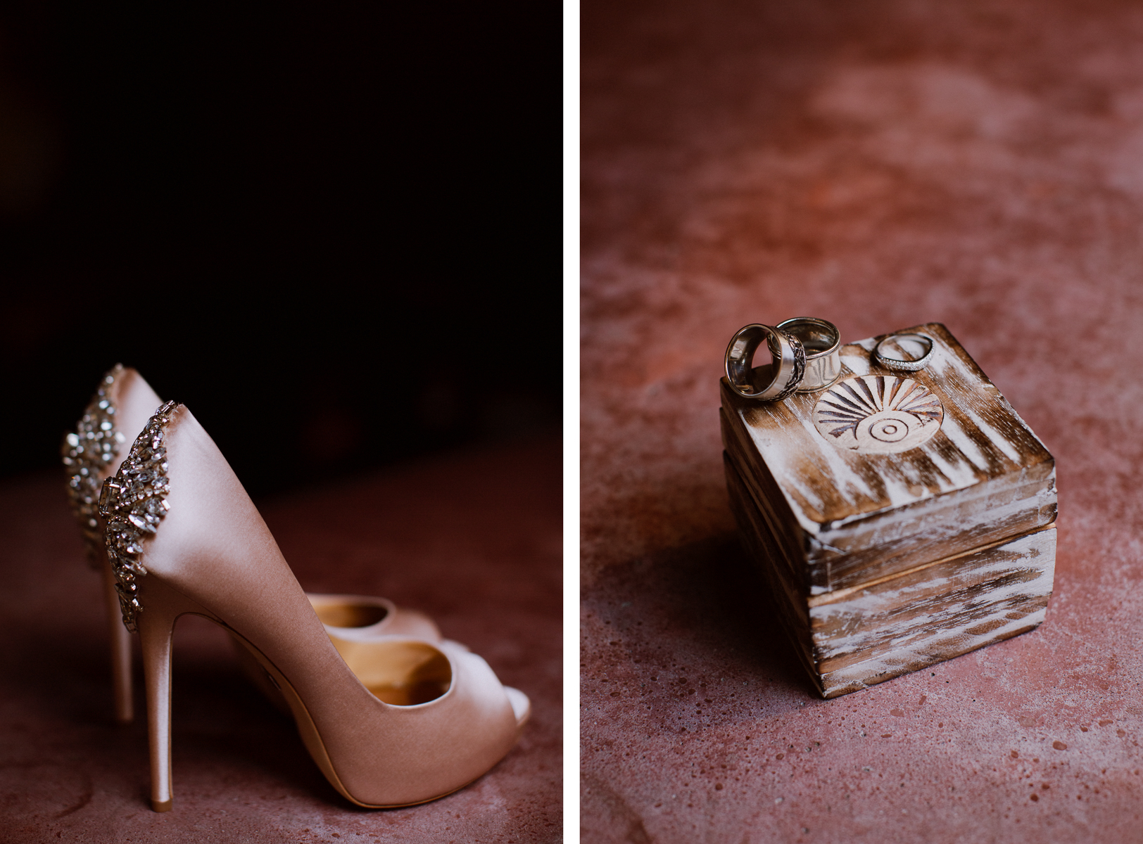 Bridal shoes and wedding rings.