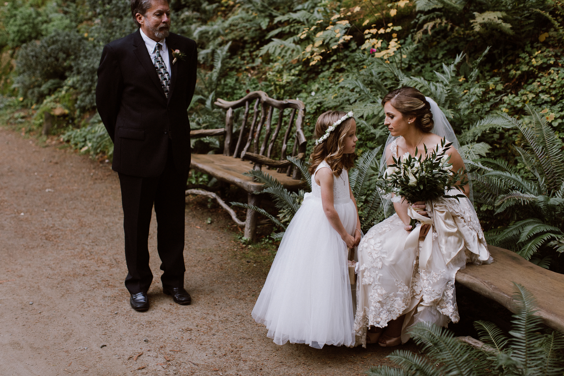 Bride with the flower girl at Nestldown.