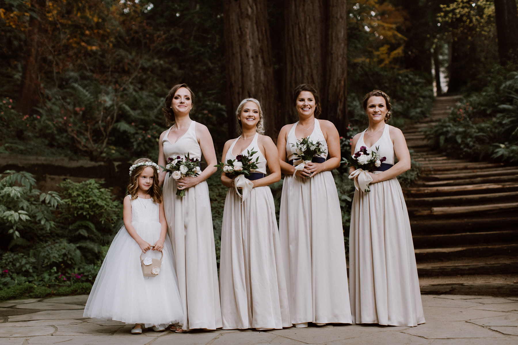 Bridesmaids in the chapel at Nestldown.