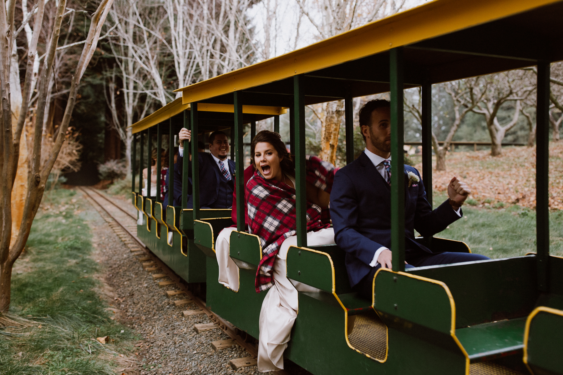 Wedding party riding the train at Nestldown.