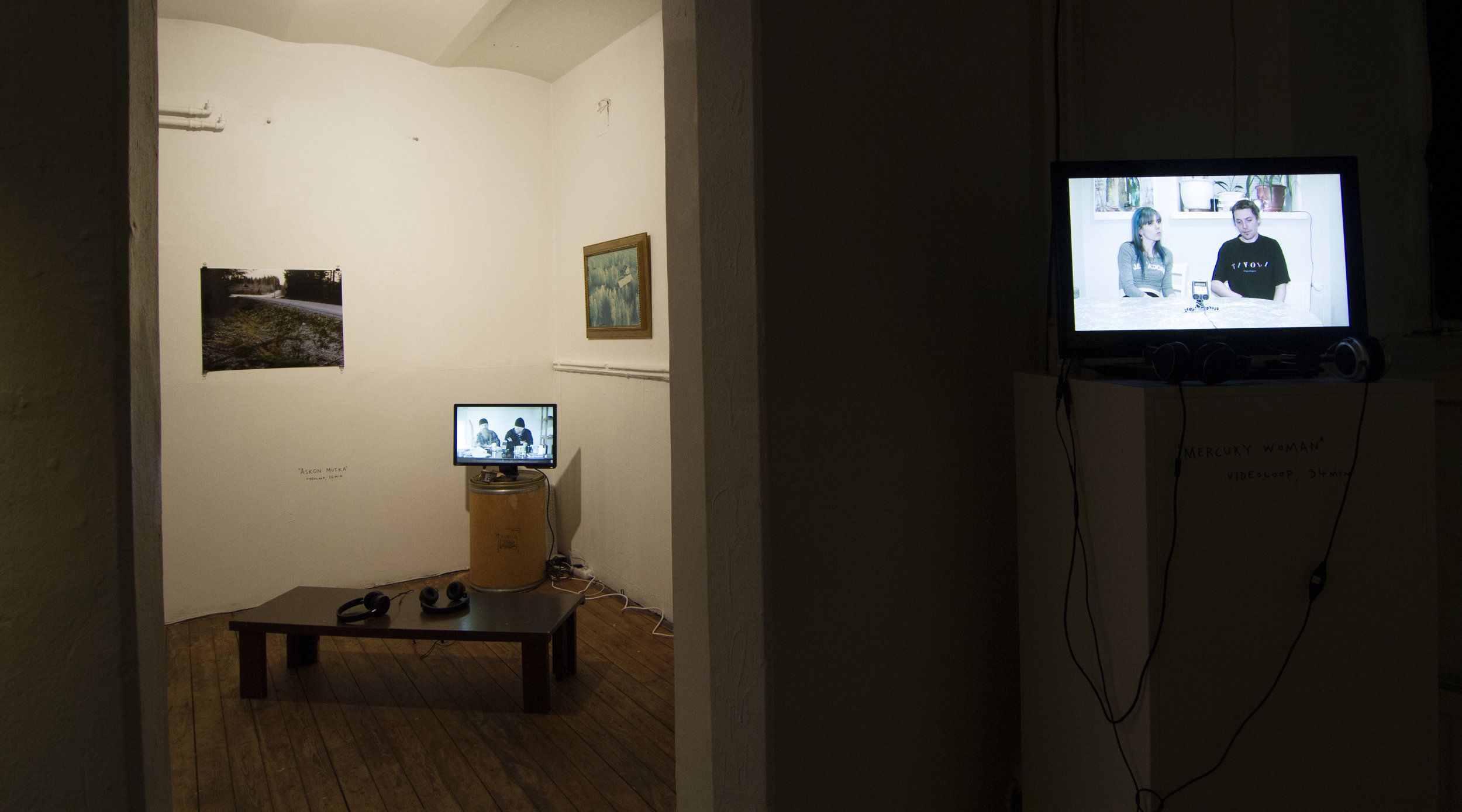 In the gallery there where 3 monitors of interviews with people from Ostrobothnia.