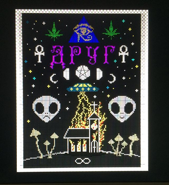 Haven't been doing any xstitches lately. Been focusing on my drawings and illustrations. But this is going to be my big xstitch project for 2017! It's going to be a backpatch on a jacket for a new cloathing company from Tallinn called друг. Hyped on this one! 🔥💣🔥 #oscarinristipisto #ristipisto #crossstitch #korsstygn #alien #aliens #ufo #entity #burningchurch #ankh #shrooms #psylocibin #drug #друг #rebirth #420 #weed #920 #doom #psychedelic #pinealgland #eyeofhorus #allseeingeye #spiritualawakening #newera #pagan #paganism