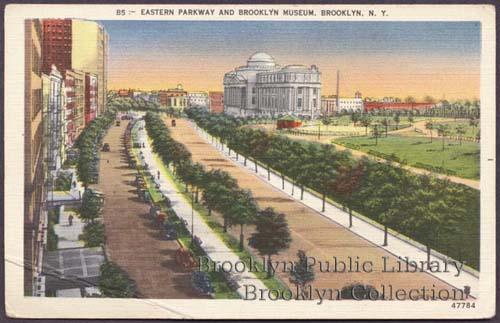 Postcard Eastern Parkway and Brooklyn Museum (1920s) Herbco Card