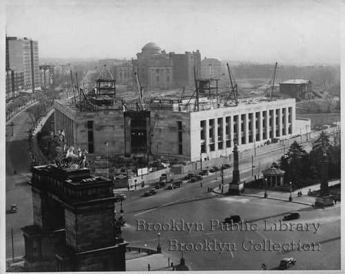 1938 aerial view of the construction of the Brooklyn Public Library