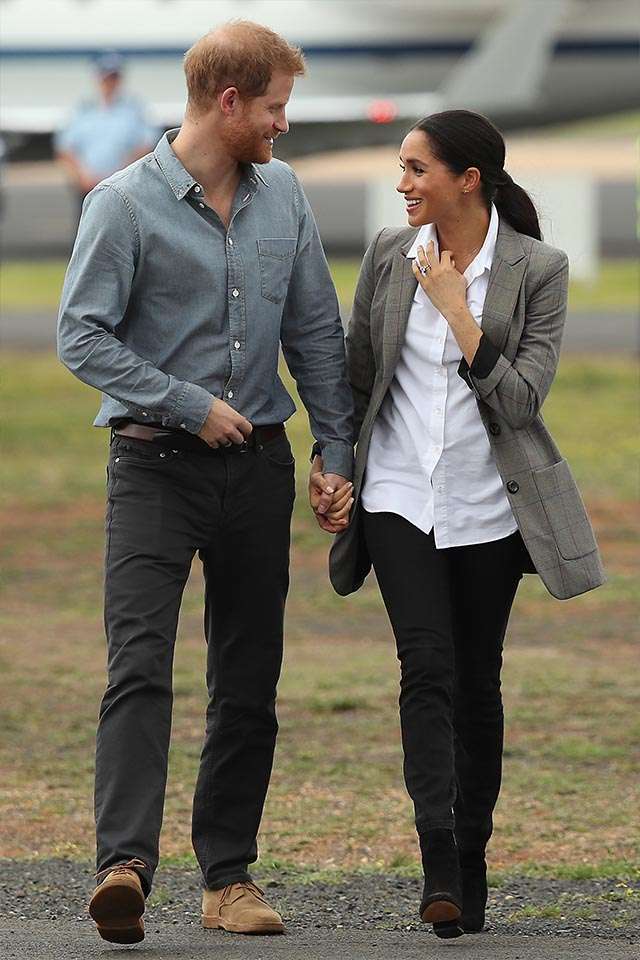 MEGHAN MARKLE wearing Outland Denim during the Royal Tour of Australia | photo by:  Getty Images
