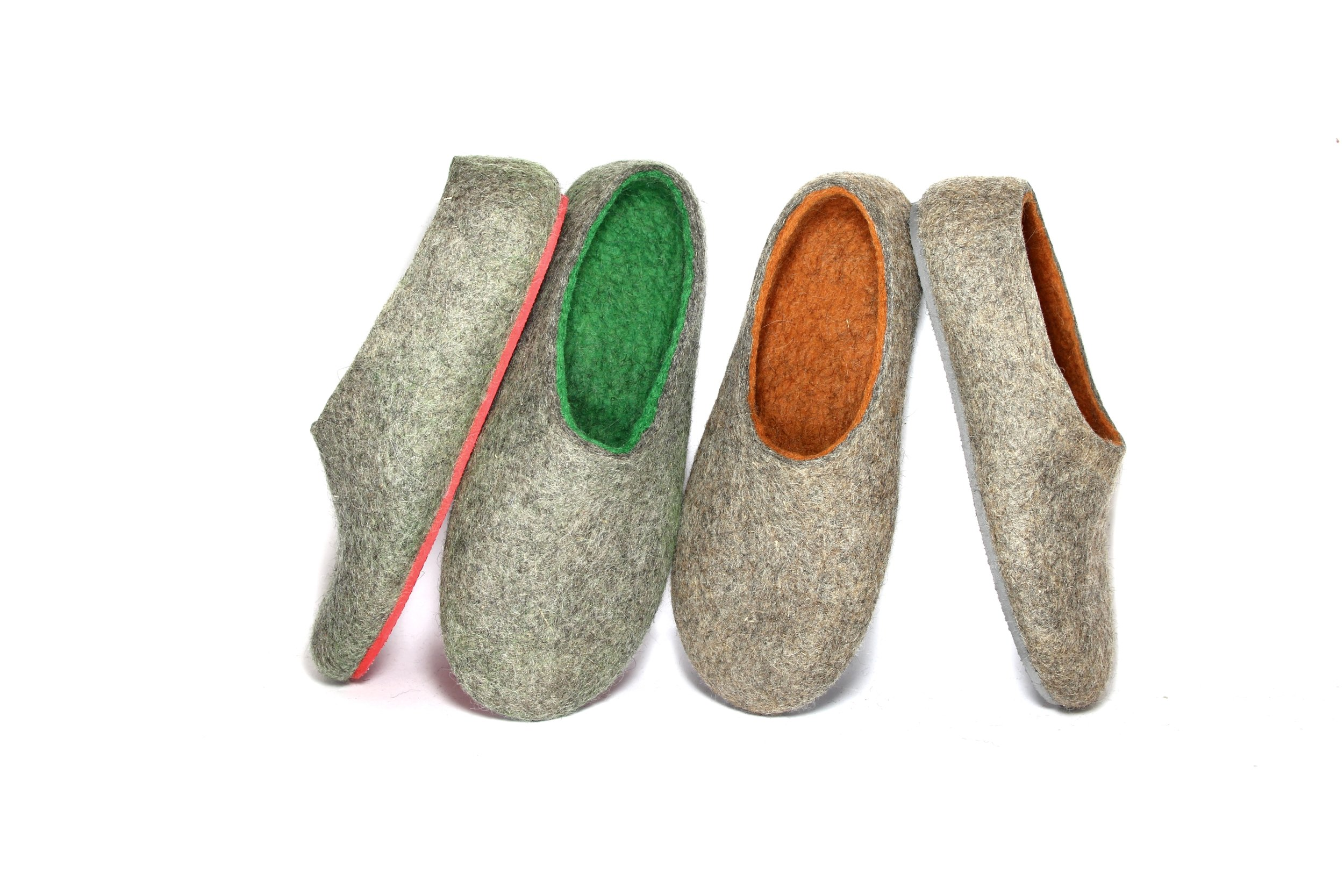 Greenery Orange Felt Forma Wool Shoes.jpg