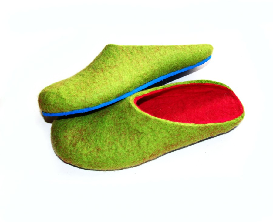 Blue sole felted wool shoes green pink 1.jpg